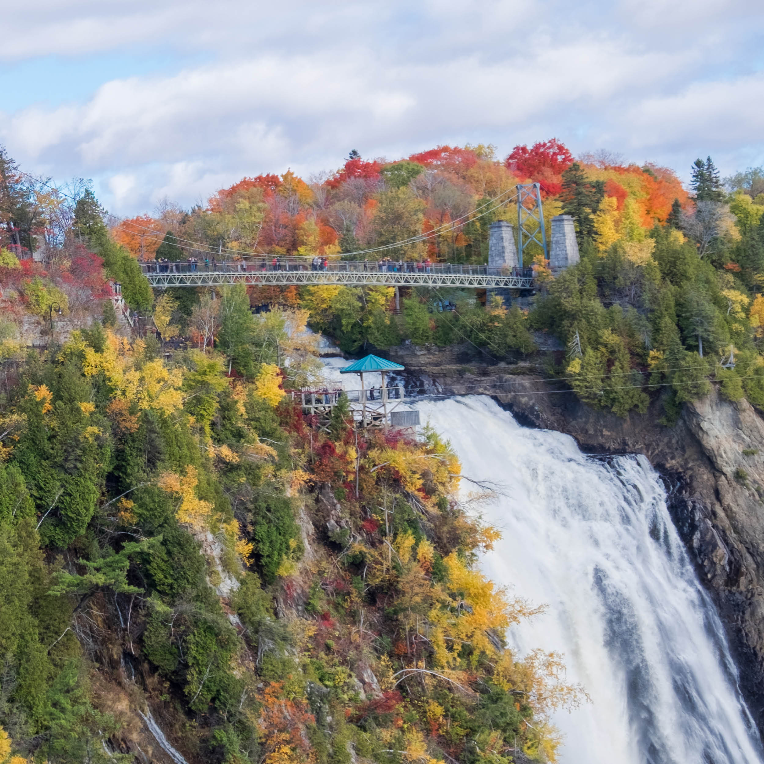 Montmorency Falls in Autumn is simply stunning visit on your tour with Steeve Gaudreault